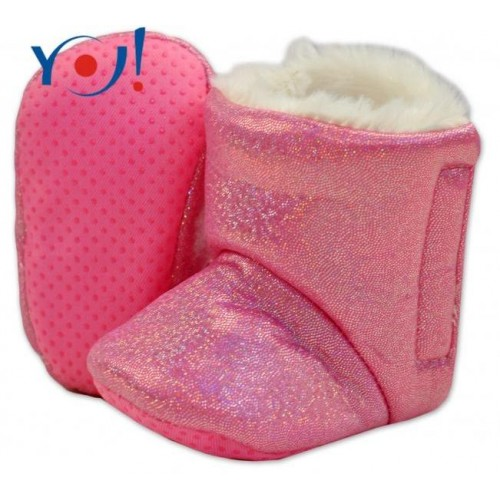 YO ! Zimní botičky/capáčky s kožíškem YO! - lesklé - růžové, 12/18měsíců