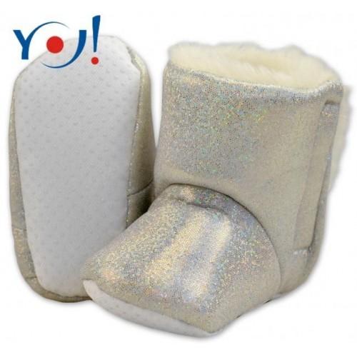 YO ! Zimní botičky/capáčky s kožíškem YO! - lesklé - bílé,stříbrné, 12/18měsíců