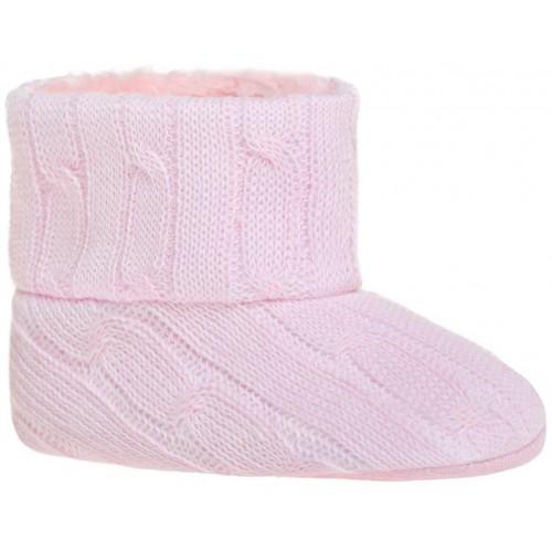 Dětské zimní capáčky Bobo Baby 12-18m růžový úplet Růžová 86 (12-18m)