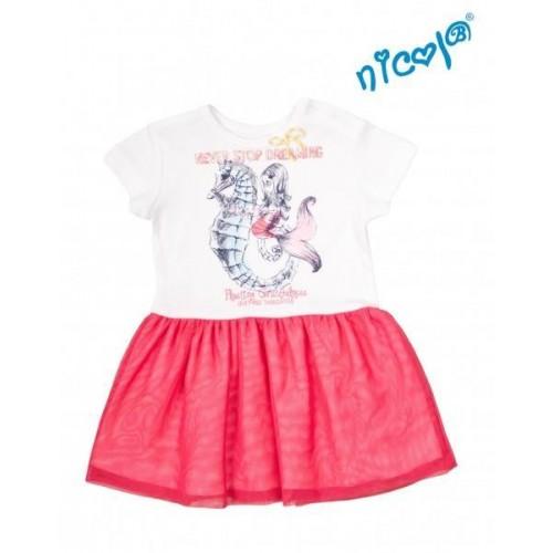 Kojenecké šaty Nicol, Mořská víla - červeno/bílé, vel. 68, 68 (3-6m)