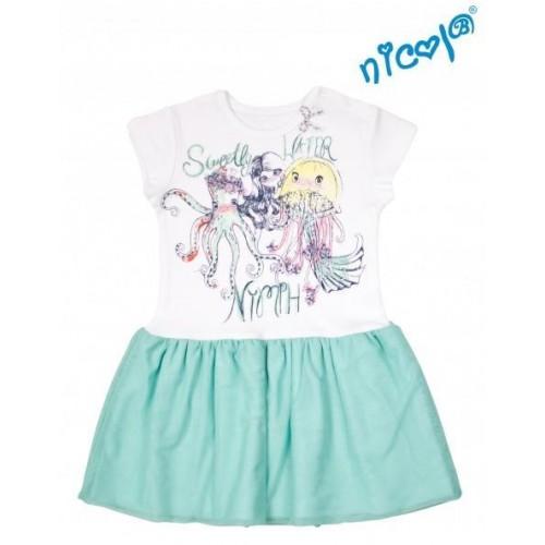 Dětské šaty Nicol, Mořská víla - zeleno/bílé, vel. 92, 92 (18-24m)
