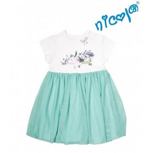 Dětské šaty Nicol, Mořská víla - zeleno/bílé, vel. 128, 128 (7-8r)