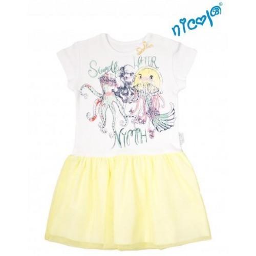 Dětské šaty Nicol, Mořská víla - žluto/bílé, vel. 128, 128 (7-8r)