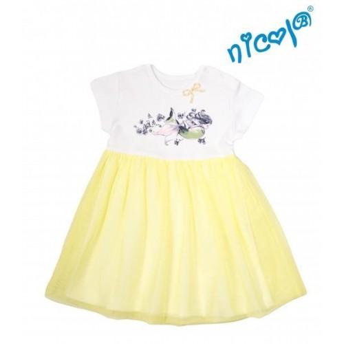 Dětské šaty Nicol, Mořská víla - žluto/bílé, vel. 122, 122 (6-7r)
