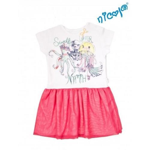 Dětské šaty Nicol, Mořská víla - červeno/bílé, vel. 122, 122 (6-7r)