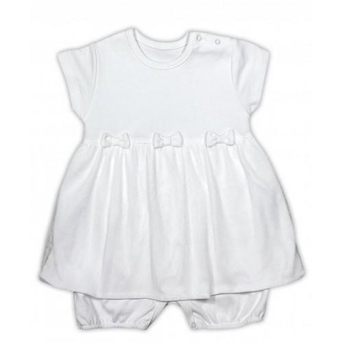 Sukničkobody NICOL PŘÁTELÉ s mašličkou - BIO bavlna - krátký rukáv - smetanové, 86 (12-18m)