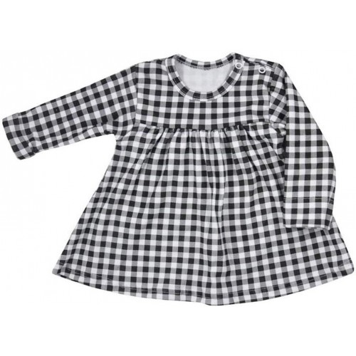 Kojenecké bavlněné šatičky Koala Checkered černo-bílé Bílá 68 (4-6m)