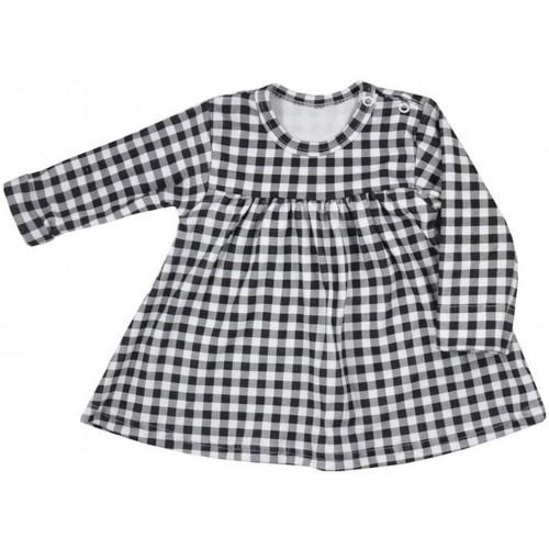 Kojenecké bavlněné šatičky Koala Checkered černo-bílé Bílá 80 (9-12m)