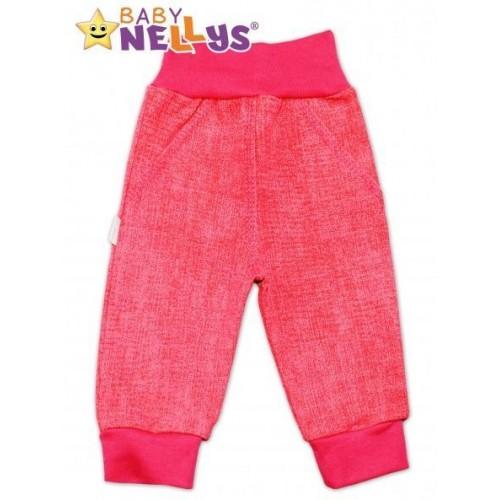 Bavlněné kalhoty Baby Nellys ® - jeans - růžové/malina, 56 (1-2m)