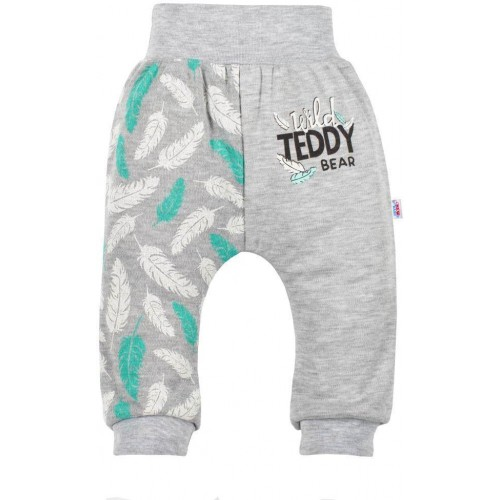 Kojenecké bavlněné tepláčky New Baby Wild Teddy Šedá 56 (0-3m)