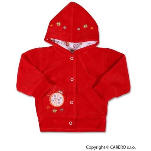 Semišková mikinka s kapucí Červená 80 (9-12m)