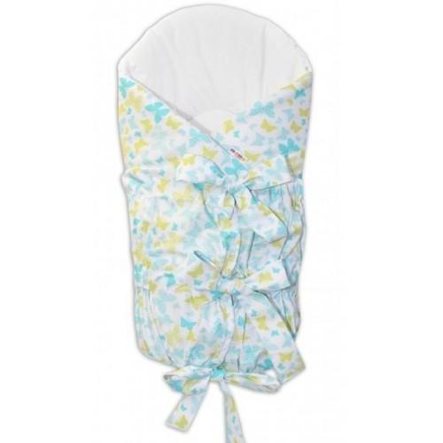 BABY NELLYS Zavinovačka šněrovací 75x75cm - motýlci žlutí,modří, K19