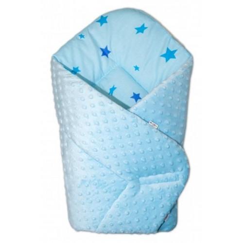 Baby Nellys  Oboustranná rychlozavinovačka 75x75cm s minky Baby Stars - sv. modrá, K19