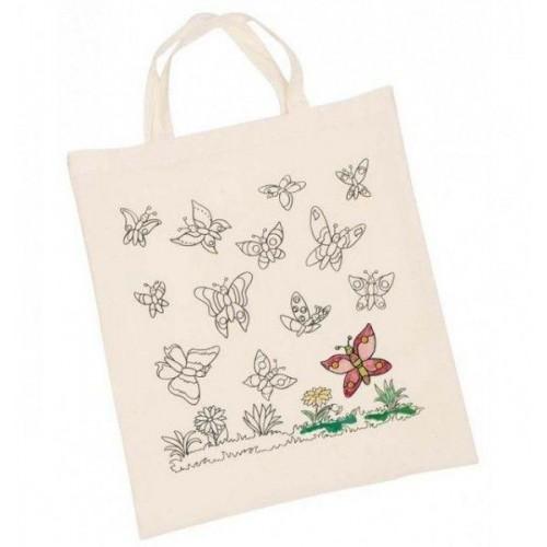 Goki Dětská Eko bavlněná taška k vybarvení, 38x42cm - Motýlci