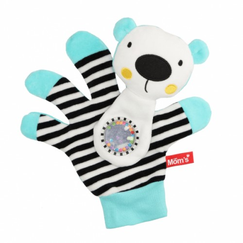 Hencz Toys Edukační hračka maňásek s chrastítkem  - Medvídek - zrcátko - tyrkysový
