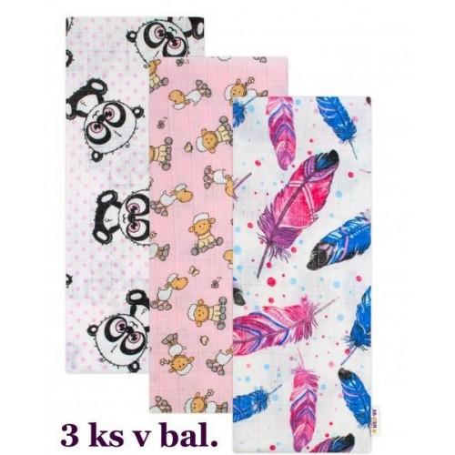 Kvalitní bavlněné plenky Baby Nellys s potiskem, Tetra Lux 70x80cm, Holka - 3 kusy - různé