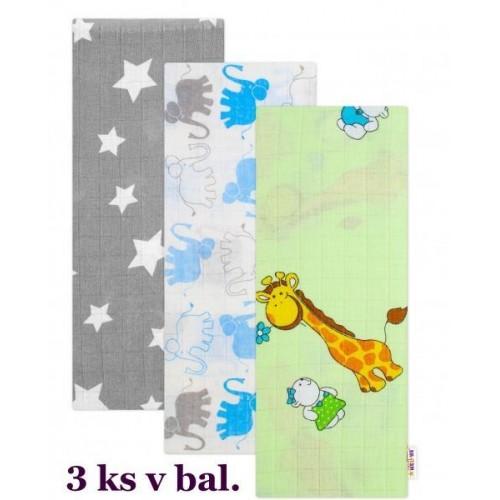 Kvalitní bavlněné plenky Baby Nellys s potiskem, Tetra Lux 70x80cm, Kluk - 3 kusy - různé