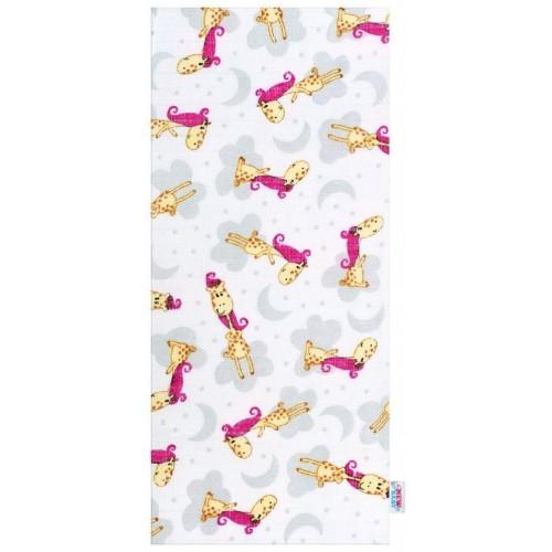 Bavlněná plena s potiskem New Baby bíla s růžovou žirafou