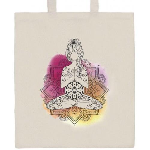 Bavlněná nákupní taška přírodní s potiskem New Baby Mandala