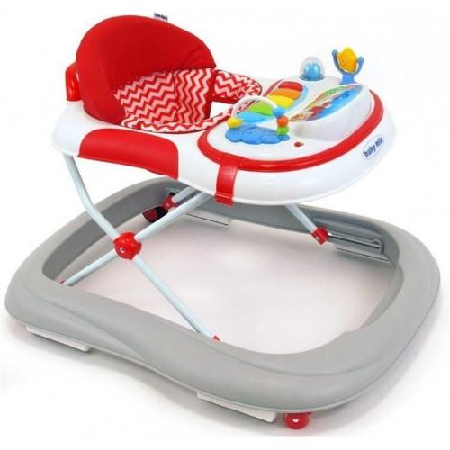 Dětské chodítko Baby Mix se silikonovými kolečky grey-red