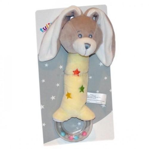 plyšová hračka tulilo s pískátkem a chrastítkem králíček, 20 cm - žlutý