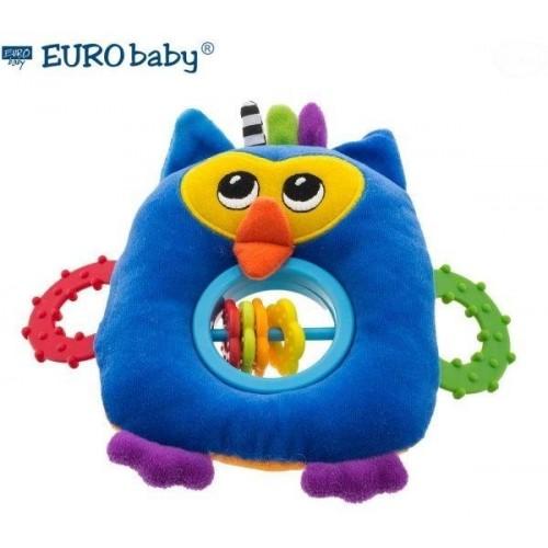 Euro Baby Plyšová hračka s kousátkem a chrastítkem  - Sovička - modrá, Ce19