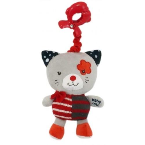 Dětská plyšová hračka s hracím strojkem Baby Mix kočička červená
