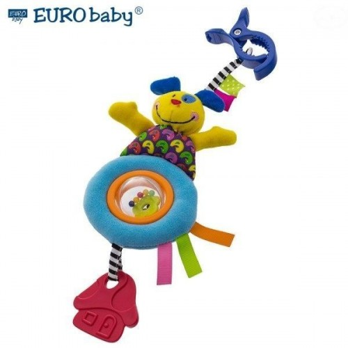 Euro Baby Plyšová hračka s klipsem a chrastítkem  - Pejsek, Ce19