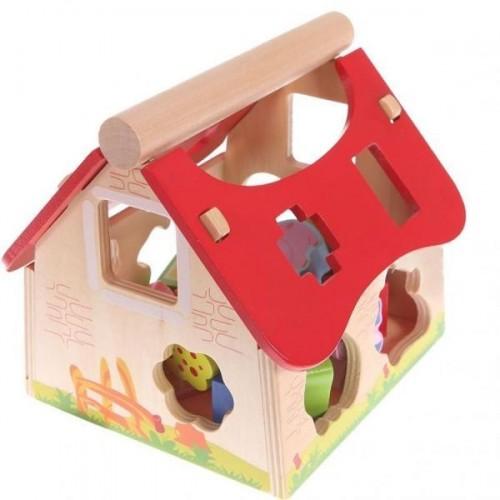 Eco toys Dřevěný domek, vkládačka - Farma se zvířatky