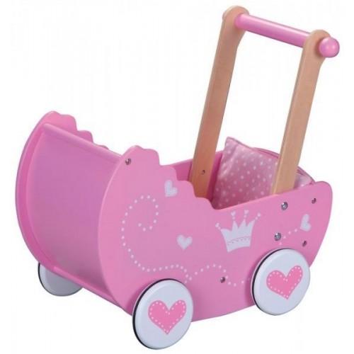 Lelin Dřevěný kočárek pro panenky  - růžový