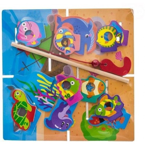 Dřevěné zábavné puzzle, na chytání a vkládaní EURO BABY - rybičky