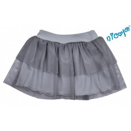 Dětská sukně Nicol, Baletka - šedá, vel. 122, 122