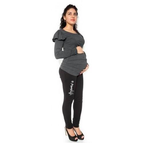 Be MaaMaa Těhotenské tepláky,kalhoty MOM life - černé - XL, XL (42)