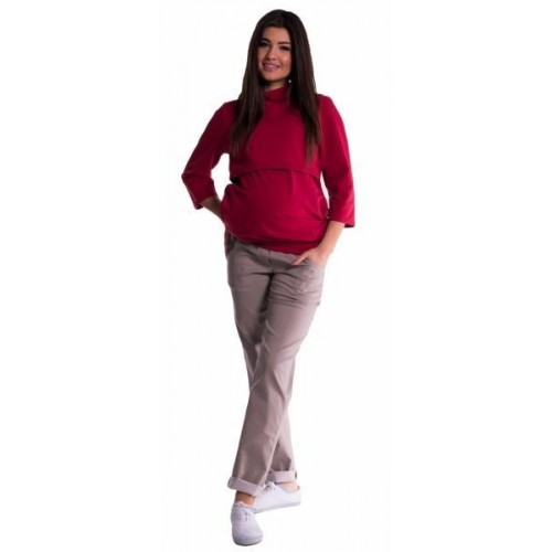 Be MaaMaa Těhotenské kalhoty letní bez břišního pásu - béžové, vel. XL, XL (42)