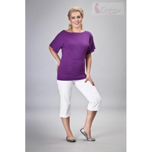 Gregx Elegantní těhotenské 3/4 kalhoty DENIM - bílá, XL (42)