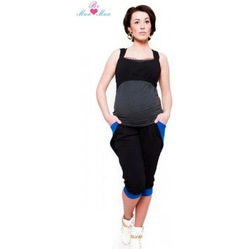 Be MaaMaa Sportovní, elegantní 3/4 kalhoty Tessi - černé, S (36)