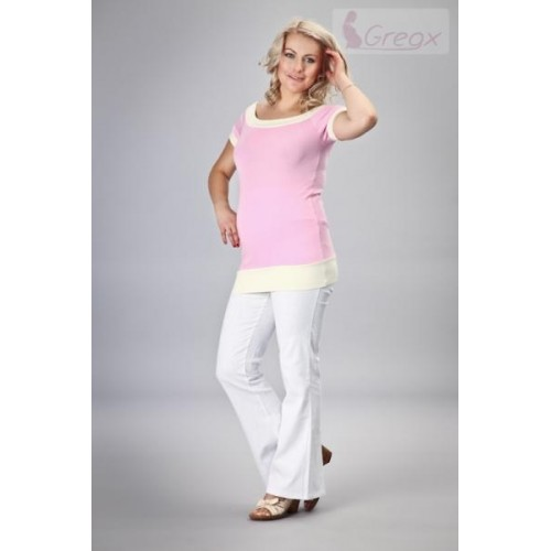Gregx Elegantní těhotenské kalhoty JEANS - bílá, XXXL (46)