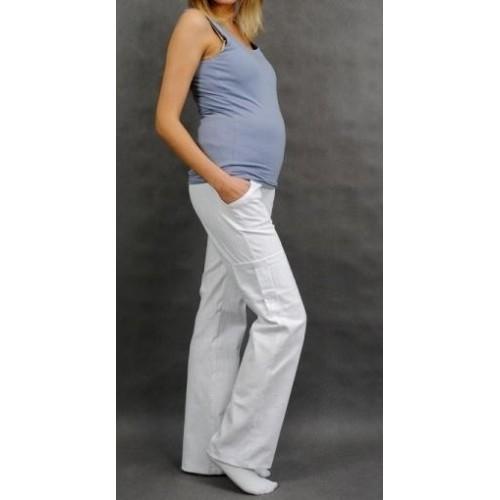 Be MaaMaa Těhotenské kalhoty s boční kapsou - bílá, vel. XL, XL (42)