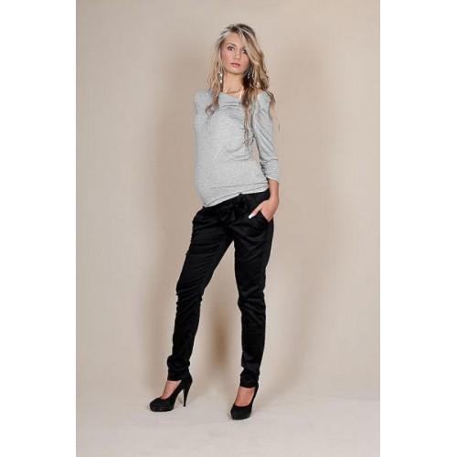 Be MaaMaa Těhotenské kalhoty s mašlí  - Černé, XS (32-34)