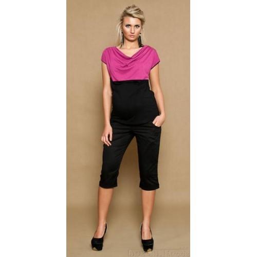 Be MaaMaa Těhotenské kalhoty ANNA  3/4  - černé, XS (32-34)