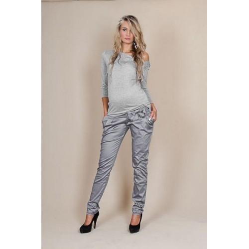 Be MaaMaa Těhotenské kalhoty s mašlí  - Šedý popílek, XS (32-34)