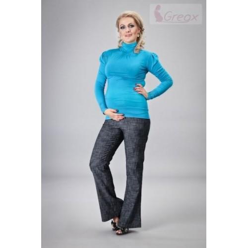 Gregx Elegantní těhotenské kalhoty JEANS - granátový melír, XL (42)