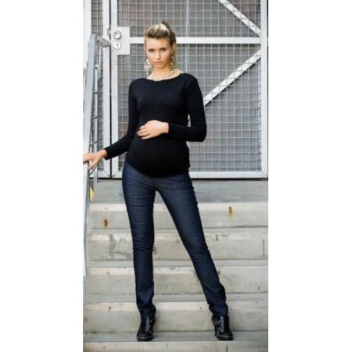 Be MaaMaa Těhotenské kalhoty JEANS - Černý jeans, M (38)