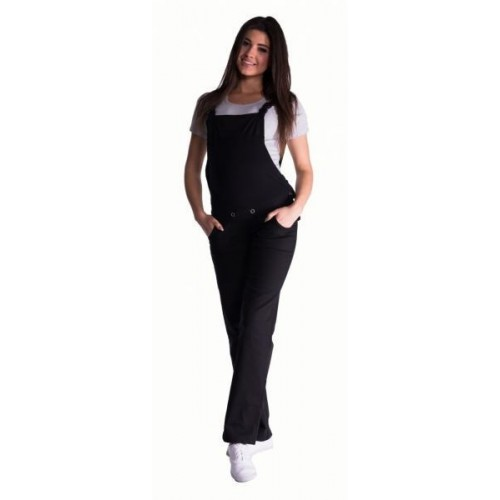 Těhotenské kalhoty s láclem - černé, vel. XXL, XXL (44)