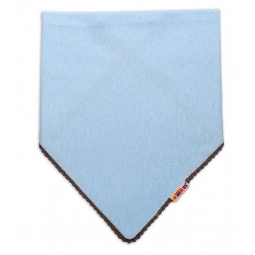 Dětský bavlněný šátek na krk s mini bambulkami Baby Nellys - modrý/šedý lem