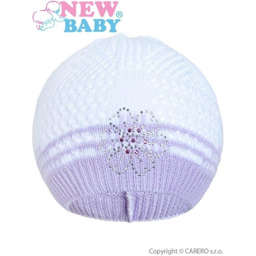 Pletená čepička New Baby kytička fialová Fialová 104 (3-4r)