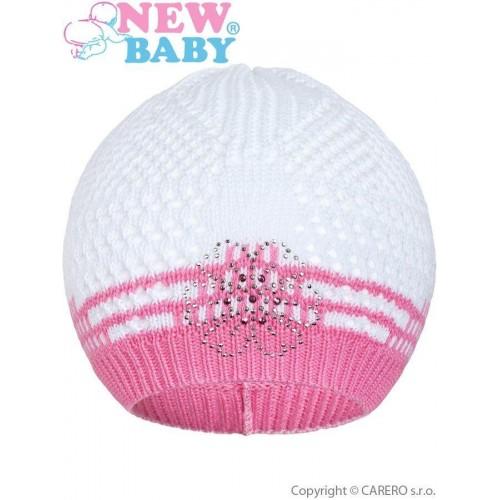Pletená čepička New Baby kytička růžová Růžová 104 (3-4r)