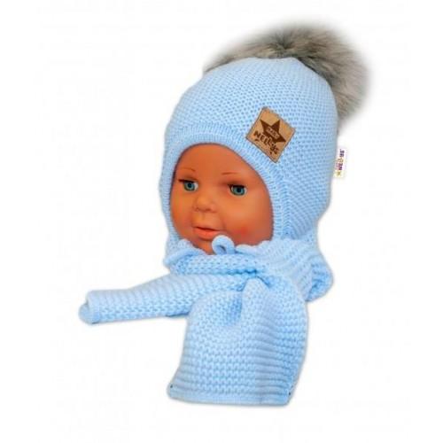 BABY NELLYS Zimní čepička s šálou - chlupáčková bambulka - sv. modrá/šedá, 12/24měsíců