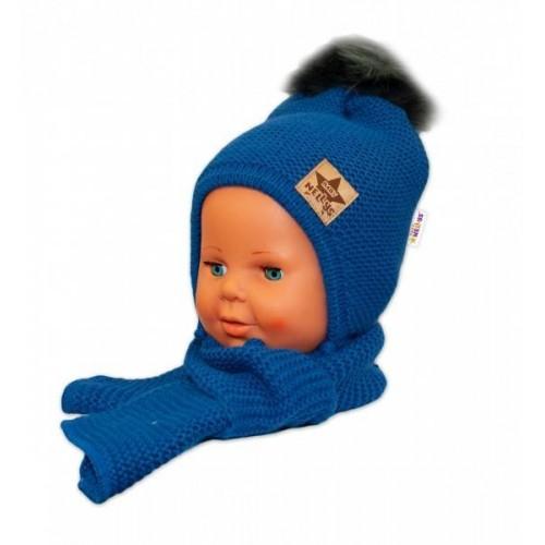 BABY NELLYS Zimní čepička s šálou - chlupáčková bambulka - granátová/tm. šedá, 12/24měsíců