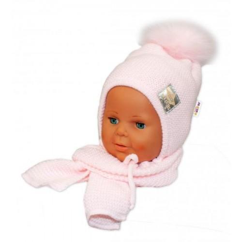 BABY NELLYS Zimní čepička s šálou - chlupáčková bambulka - sv. růžová/sv. růžová, 12/24měsíců